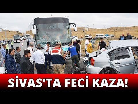 Sivas'ta Yolcu Otobüsü İle Otomobil Çarpıştı: 2 Ölü, 3 Yaralı