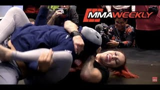 Cris Cyborg Fights Off Surprise Masked Assailant BJ Penn at UFC 222 Workouts