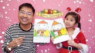Bé Bún Hướng Dẫn Bố Vẽ Ông Già Noel