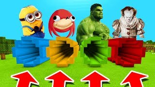 Minecraft PE : DO NOT CHOOSE THE WRONG TUNNEL! (Pennywise, Hulk & Minion)