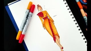 Elegant Dress Drawing || Easy Drawing