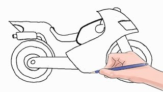 Смотреть онлайн Как карандашом нарисовать спортивный мотоцикл