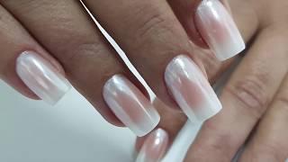 Как сделать ОМБРЕ + втирка Белый Хром   White Chrome Nails