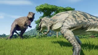 Albertosaurus VS The Big 6 Spinosaurus, T-Rex, Giganotosaurus, Acrocanthosaurus, I-Rex & Carcha- JWE