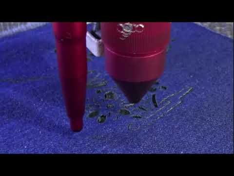 Cięcie jeans przy użyciu lasera Co2 seria C | Denim material cutting using Co2 laser C series - zdjęcie