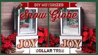 DIY Christmas Motorized Blowing Snow Globe - Red Truck Falling Snow - Dollar Tree Christmas Decor
