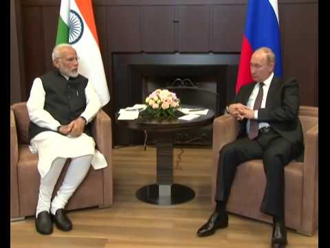 PM Modi meets Russian President Vladimir Putin for an informal summit in Sochi, Russia