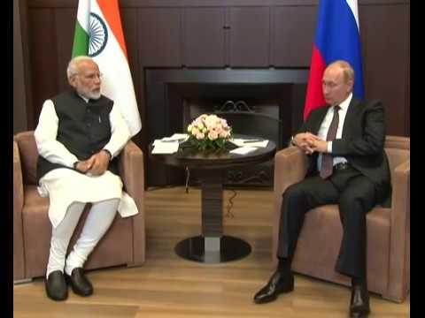 PM Modi meets Russian President Vladimir Putin for an informal summit in Sochi, Russia