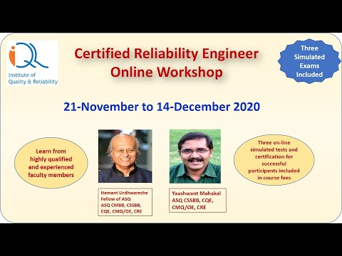 Certified Reliability Engineer Online Workshop 21Nov-14Dec20 ...
