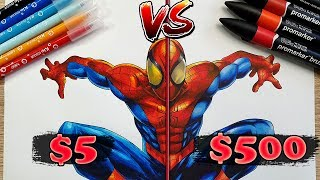 $5 vs $500 MARKER ART   Cheap VS Expensive!! Which is WORTH IT?