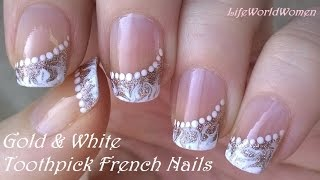 TOOTHPICK NAIL ART #5 / Gold & White Side FRENCH MANICURE Design