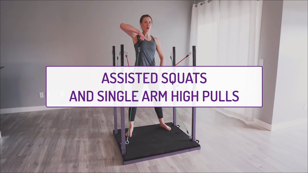 Assisted Squats and Single Arm High Pulls