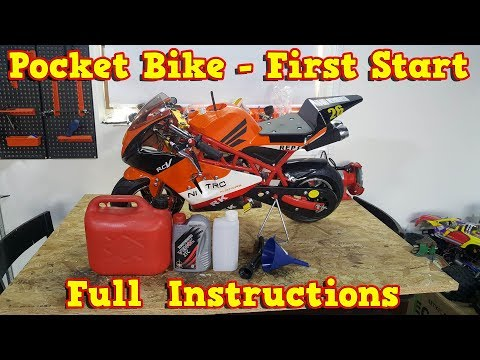 Pocket Bike 50cc - First Start Full Instructions - Mini Moto 49cc with 15mm Carburetor-Video