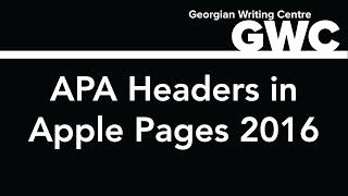 How to Format APA Headers in Apple Pages 2016