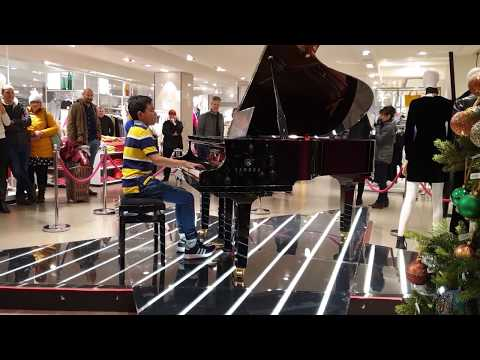 Queen Bohemian Rhapsody in Shopping Mall - Public Piano Cover 11 Years Old