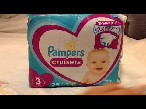 New Pampers Cruisers Size 3, 25 Count 3 Way Fit Jumbo Pack Diapers Video Review Reveal