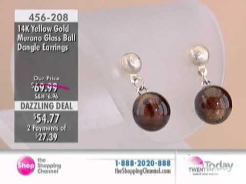 14K Gold Murano Glass Ball Dangle Earrings