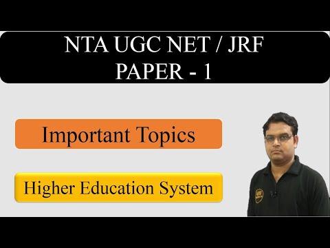 Higher Education Paper 1 Part 1 || Important Topics - CBSE UGC NET JRF Exam