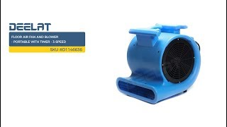Floor Air Fan and Blower - Portable with Timer - 3-Speed     SKU #D1146636