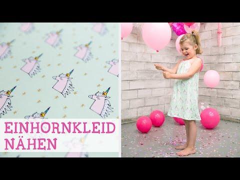 Einfaches Kinderkleid für eine Einhorn-Party nähen