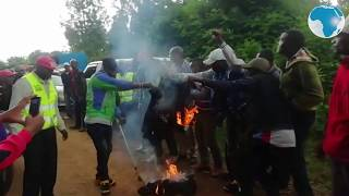 Youth burn t-shirts believed to be sponsored by MP Ngunjiri Wambugu
