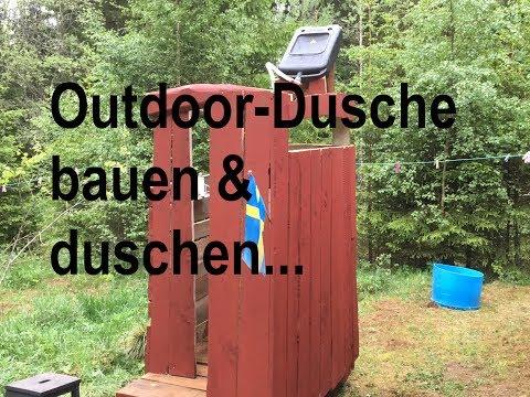 Upcycling Outdoor-Dusche bauen und duschen im Wald