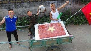 Làm Lá Cờ Siêu Khủng Bằng Xôi Gấc Cổ Vũ Đội Tuyển Việt Nam Trước Trận Chung Kết