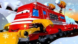 Troy o Trem - Troy, Tina e senhor Byron descem de trenó a montanha nevada - Cidade do Trem 🚄