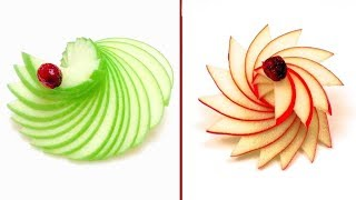 2 Easy Apple Garnishes In 1 Minute /  How-to, Food Art Chef, Party Ideas, DIY