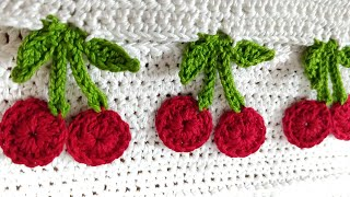 Crochet Cherry 🍒 🍒 🍒 Fruit Applique