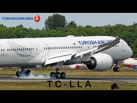 Turkish Airlines First Boeing 787-9 (TC-LLA) first flight Takeoff+Landing+ Taxi tests @ PAE