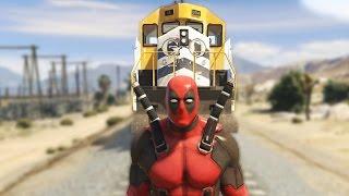 DEADPOOL Vs TRAIN! (GTA 5 Mods Funny Moments)