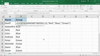 Randomly Assign Names to Groups - Excel Formula