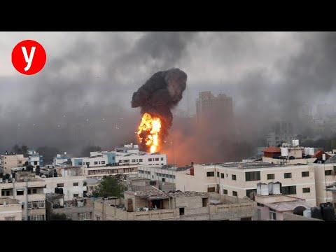 צפו • הפצצה ישירה על בניין ששהו בו הבכירים במודיעין החמאס