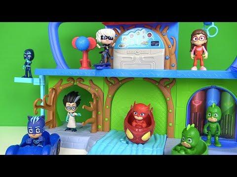 Pijamaskeliler karargahı kontrol merkezi oyun seti ve araçlar Kedi Çocuk Baykuş kız sallanıp kayıyor