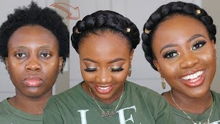 Easy HALO BRAID On Short 4C Natural Hair Using Braiding Hair Tutorial | Hair How-to