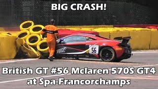 British_GT - Spa2018 Qualifying Pattison Crashes Amateur