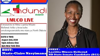 UMUCO: Laetitia Mizero Hellerud, ND State, Senate Candidate (D22)