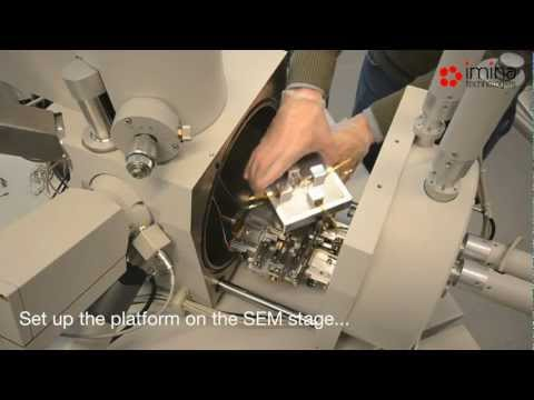 Imina Technologies: Installation of the miBot nanomanipulators in a SEM