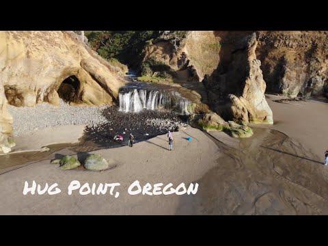 Hug Point, Oregon Coast 4K Drone video