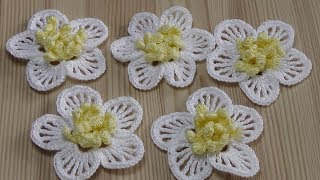 Вязаный цветок крючком - урок вязания крючком  Crochet flower  Tutorial