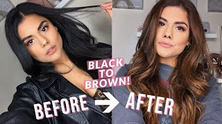 BLACK TO BROWN HAIR COLOR AT HOME! (DIY BALAYAGE HIGHLIGHTS) NO DAMAGE WITH BLEACH!