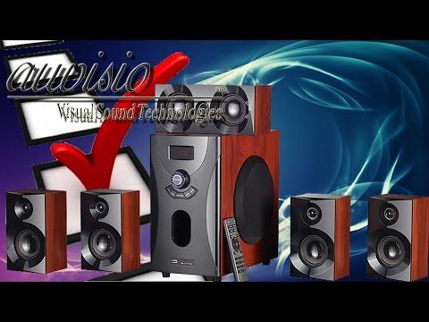 Hardware Check -  auvisio Home-Theater Surround-Sound-System 5.1, MP3 / Radio, Holzoptik