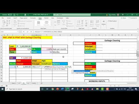 EXCEL PMT, IPMT and PPMT with Garbage Cleaning