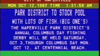 City of Naperville, IL Jones Intercable Text Information Channel 10/12/87