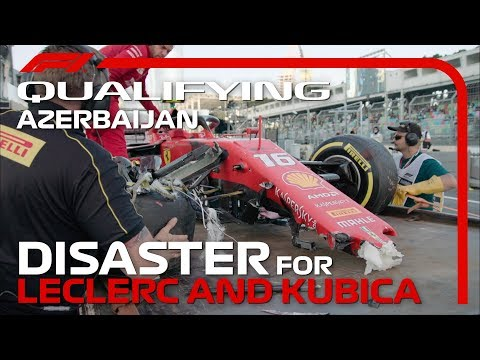 Leclerc and Kubica Crash In Baku Qualifying | 2019 Azerbaijan Grand Prix
