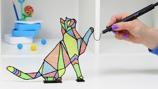 РИСУЮ КОТА САМОЙ ТОНКОЙ 3D РУЧКОЙ В МИРЕ | РАЗНОЦВЕТНЫЙ КОТ DIY 3D РУЧКА