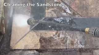sandstone pavers pressure washed