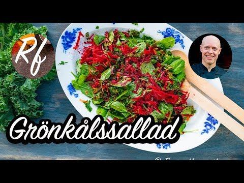 Grönkålssallad med rivna rödbetor och morötter, babyspenat och halverade cocktailtomater i en enkel och god dressing med olivolja, salt och risvinäger.>