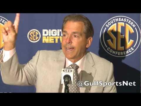 Alabama Coach Nick Saban At SEC Media Days